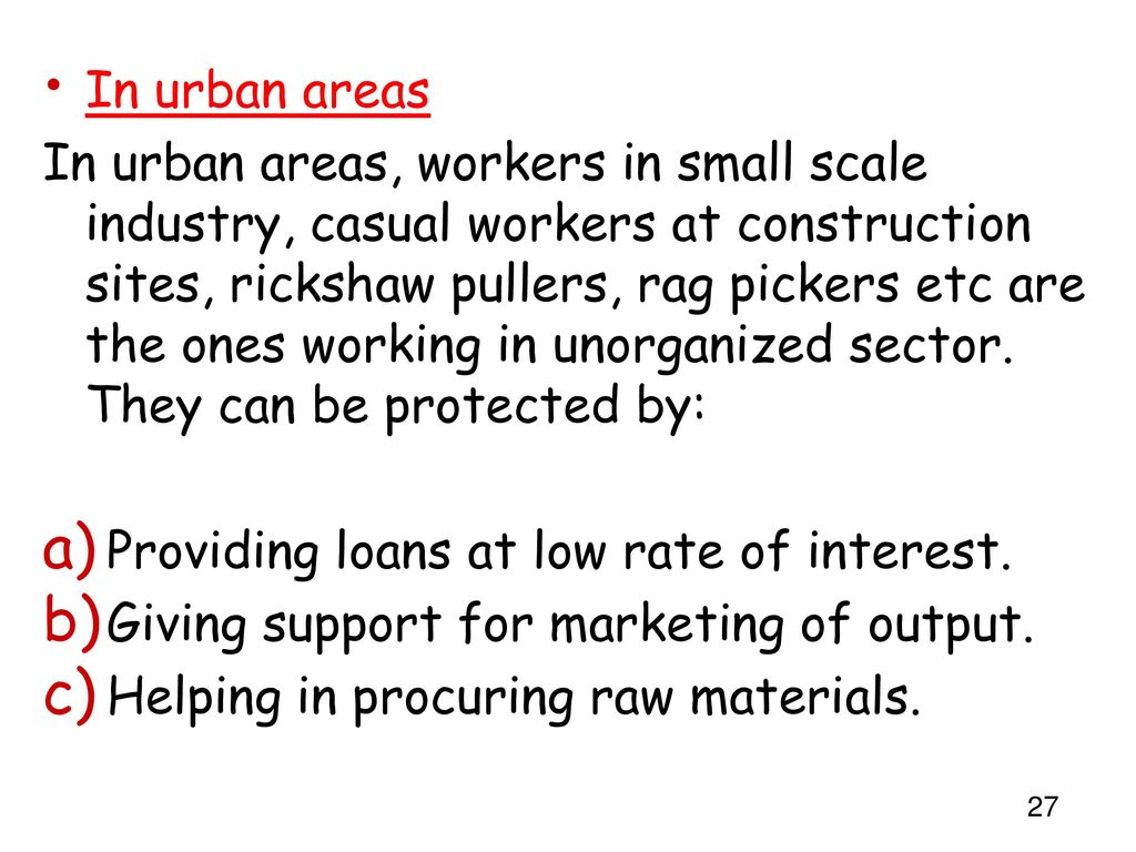 In urban areas