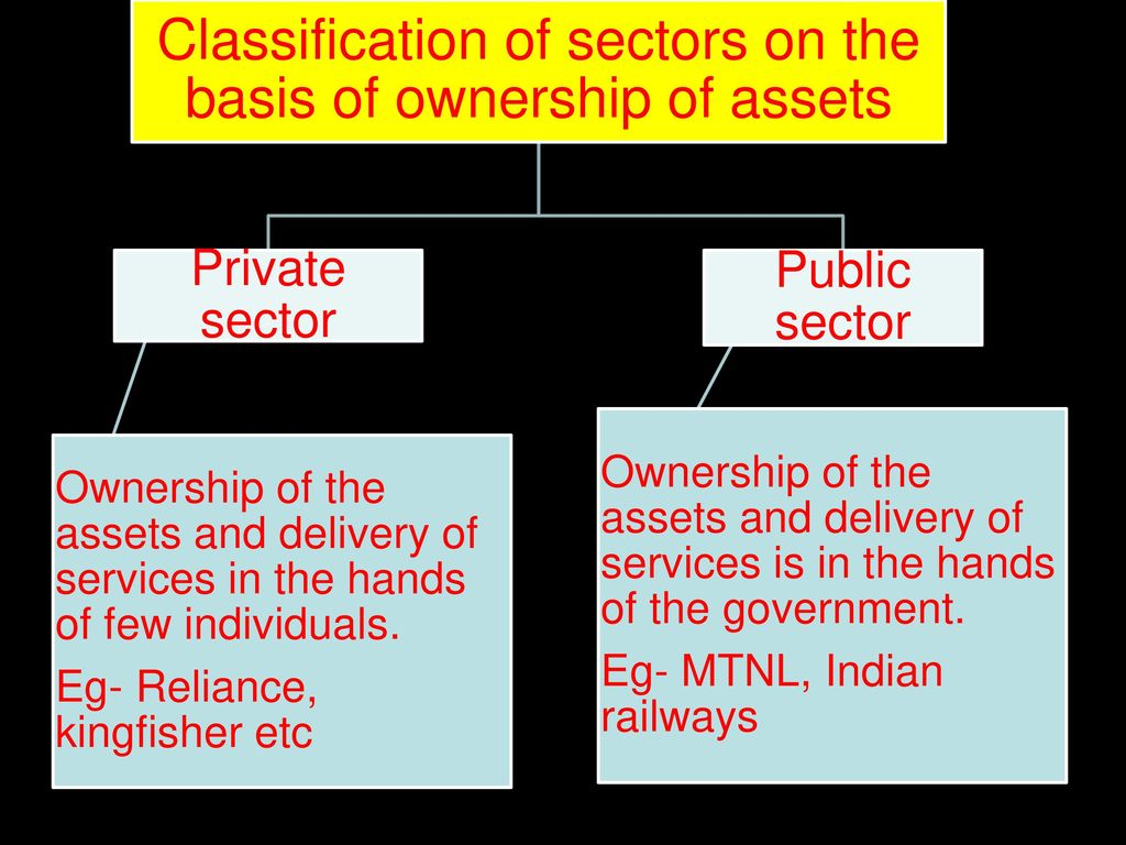 Classification of sectors on the basis of ownership of assets