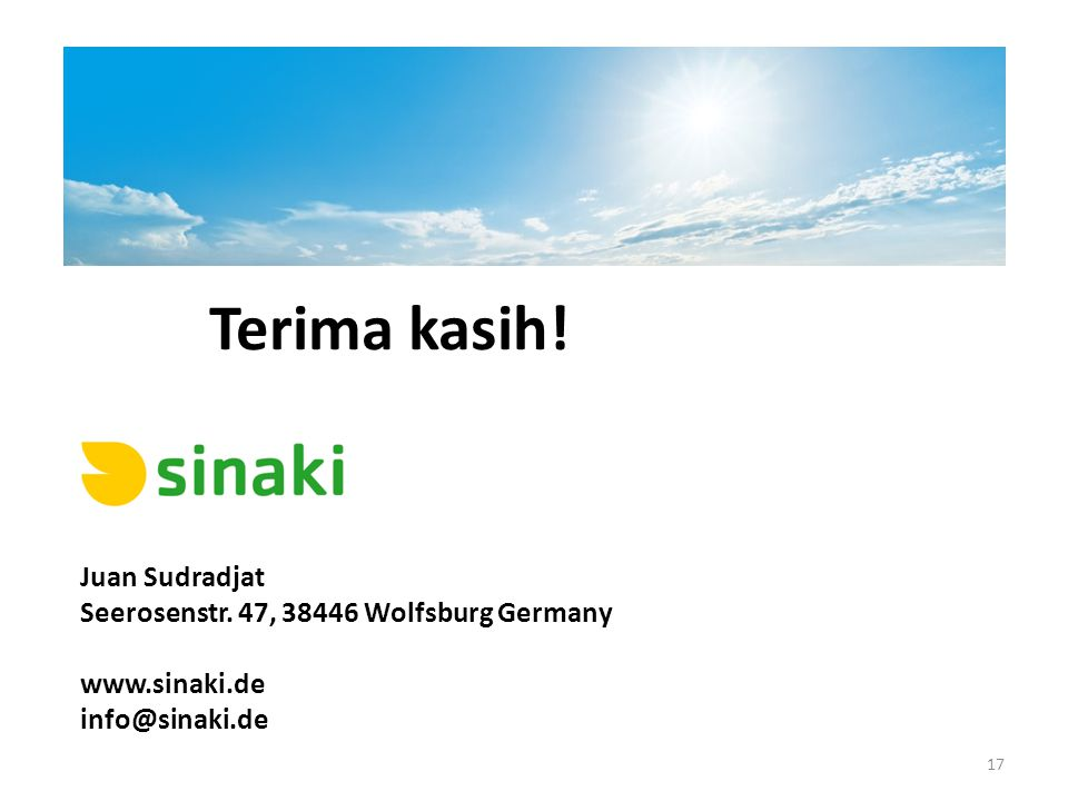 Terima kasih! Juan Sudradjat Seerosenstr. 47, 38446 Wolfsburg Germany