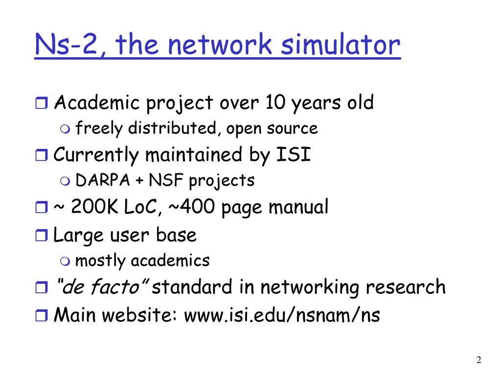 """Introduction to ns-2: """"The"""" Network Simulator - ppt download"""