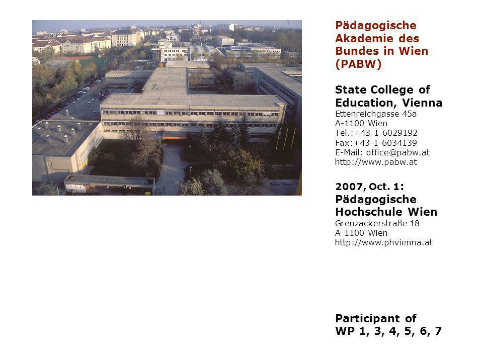Pädagogische Akademie des Bundes in Wien (PABW) State College of Education, Vienna Ettenreichgasse 45a A-1100 Wien Tel.:+43-1-6029192 Fax:+43-1-6034139 E-Mail: office@pabw.at http://www.pabw.at 2007, Oct.