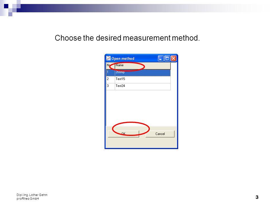 Choose the desired measurement method.