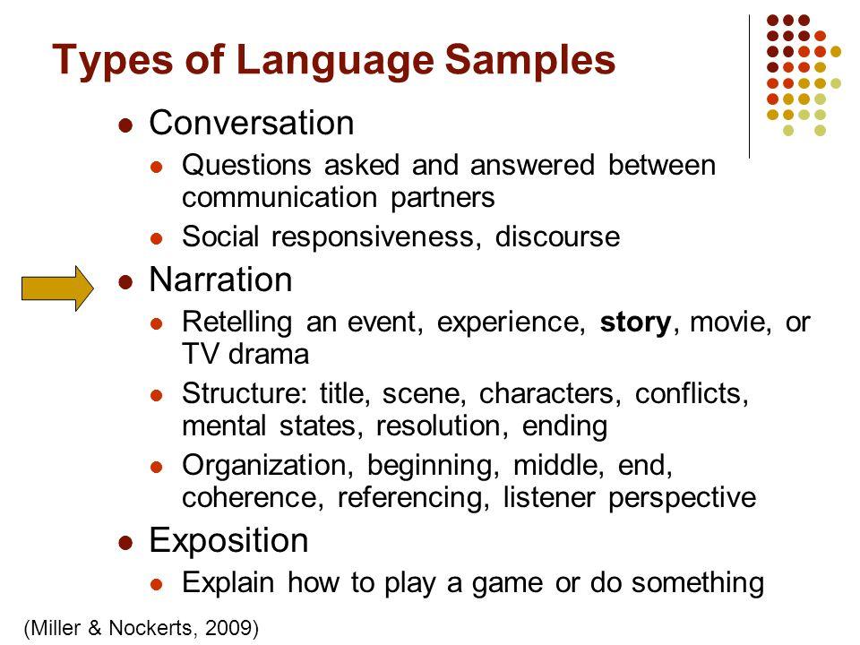 Types of Language Samples