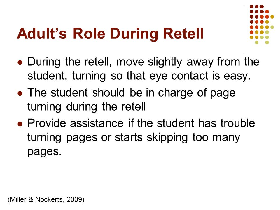 Adult's Role During Retell
