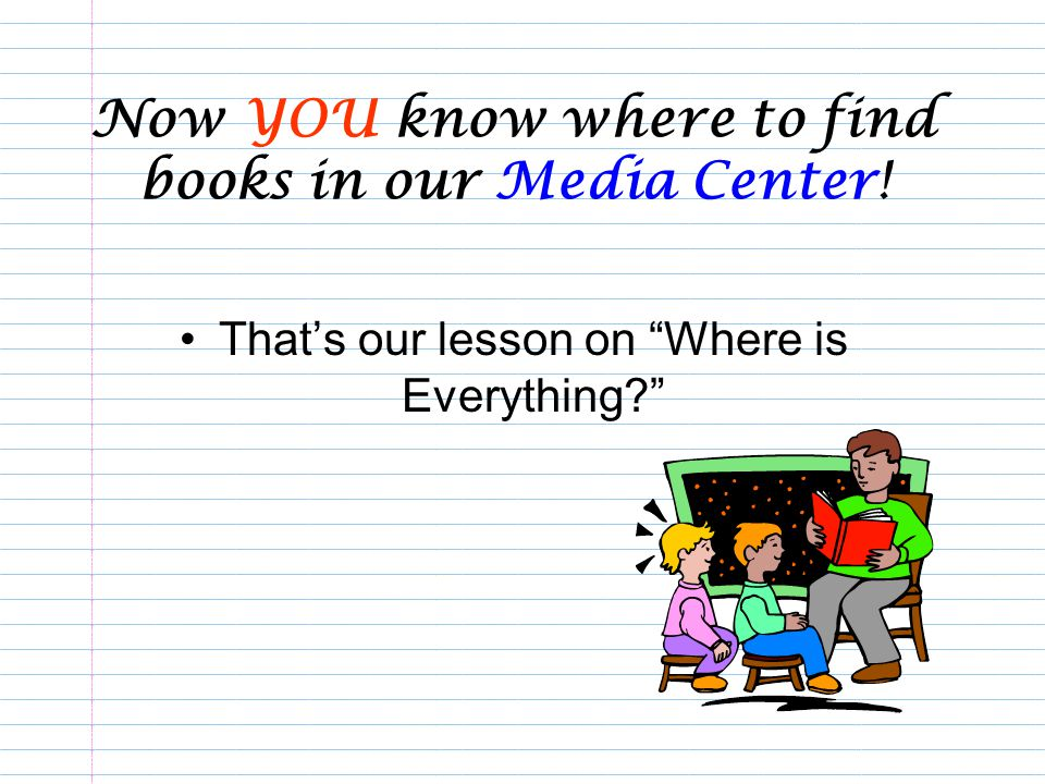 Now YOU know where to find books in our Media Center!