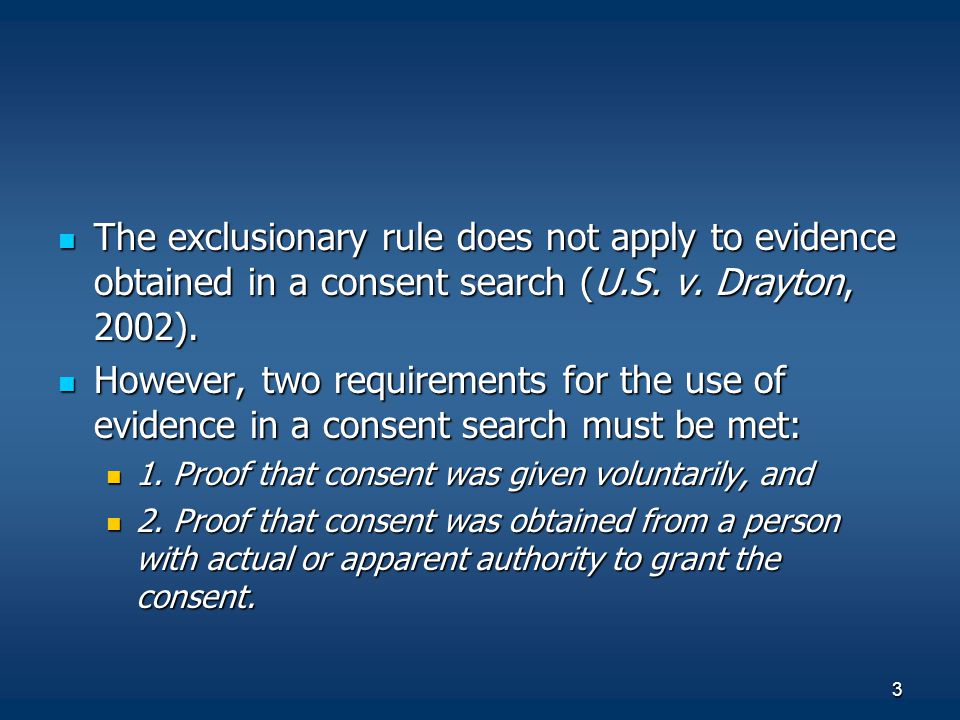 The exclusionary rule does not apply to evidence obtained in a consent search (U.S. v. Drayton, 2002).