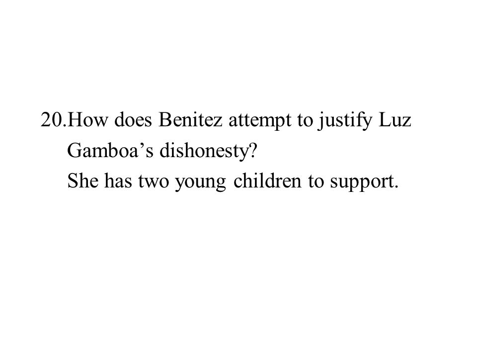 How does Benitez attempt to justify Luz