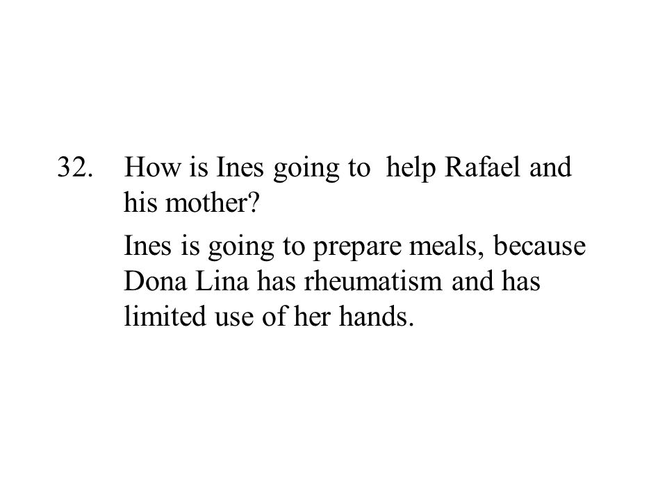 How is Ines going to help Rafael and his mother