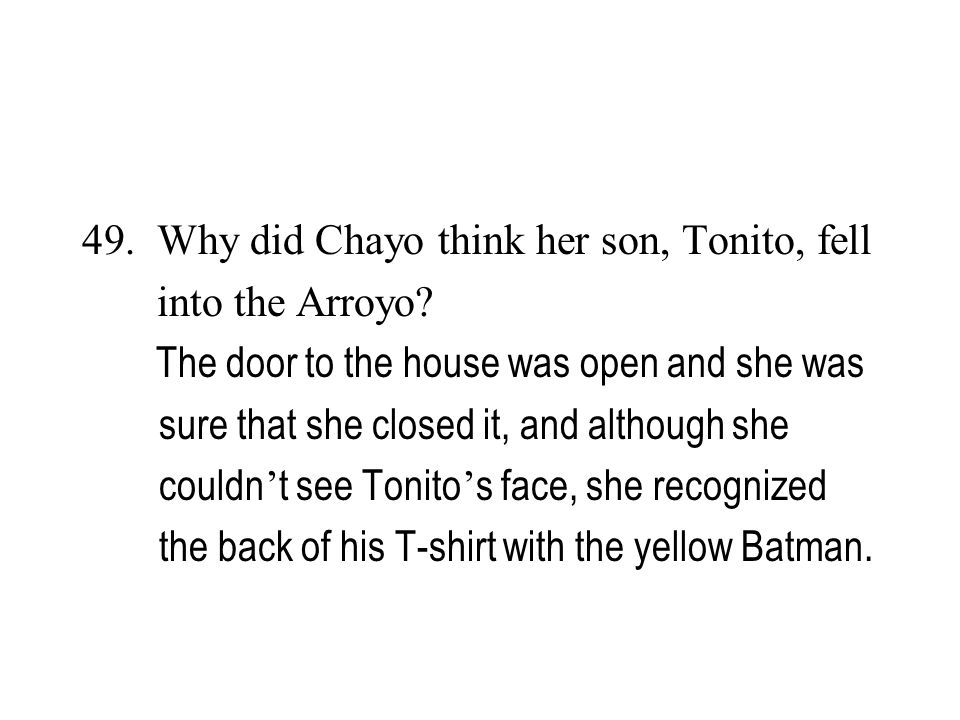Why did Chayo think her son, Tonito, fell