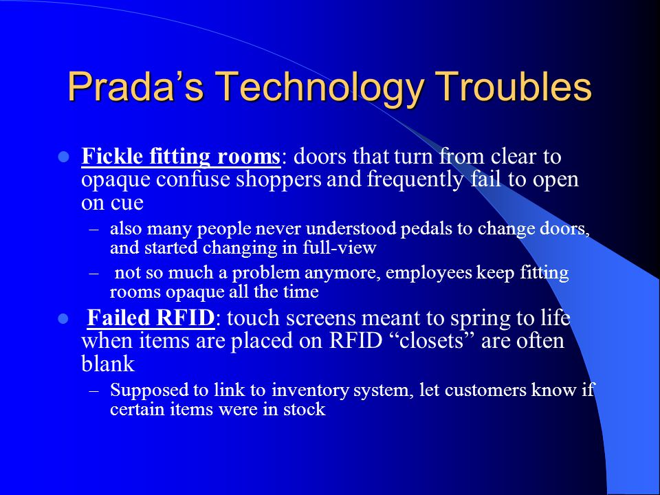Prada's Technology Troubles