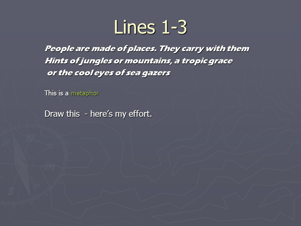 Lines 1-3 People are made of places. They carry with them