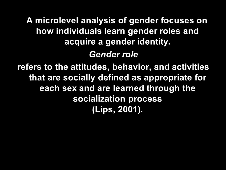 A microlevel analysis of gender focuses on how individuals learn gender roles and acquire a gender identity.