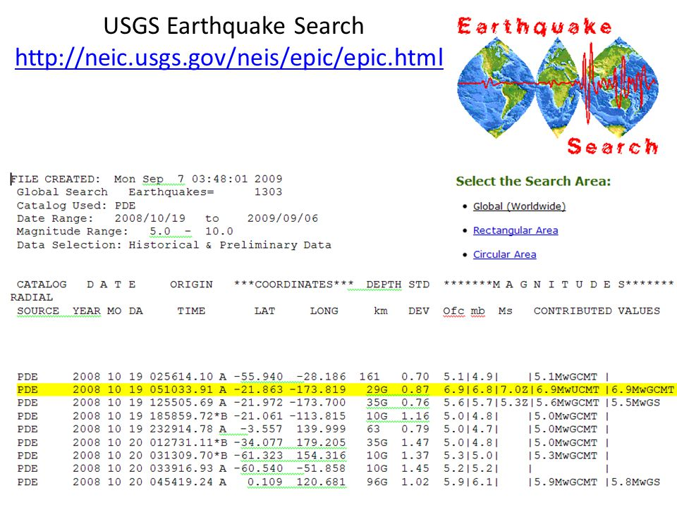 USGS Earthquake Search