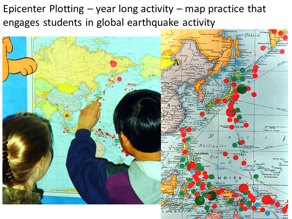 Epicenter Plotting – year long activity – map practice that engages students in global earthquake activity