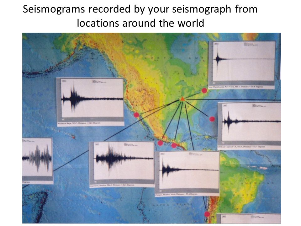 Seismograms recorded by your seismograph from locations around the world