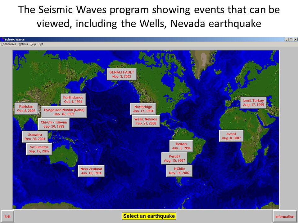 The Seismic Waves program showing events that can be viewed, including the Wells, Nevada earthquake