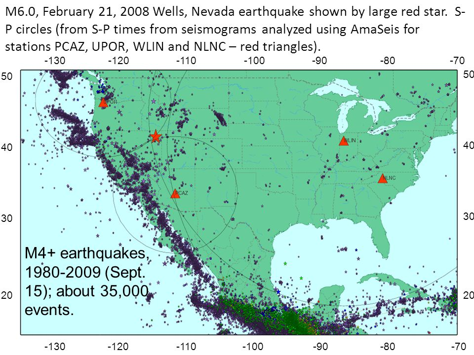 M4+ earthquakes, 1980-2009 (Sept. 15); about 35,000 events.