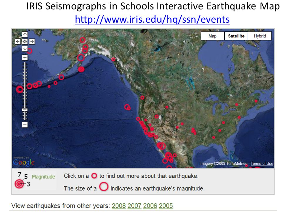 IRIS Seismographs in Schools Interactive Earthquake Map