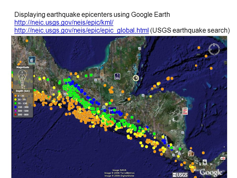 Displaying earthquake epicenters using Google Earth