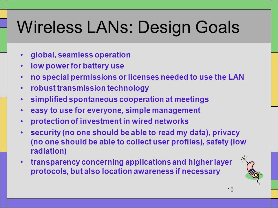 Wireless LANs: Design Goals