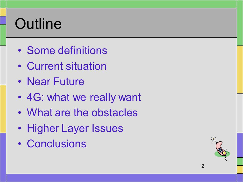 Outline Some definitions Current situation Near Future