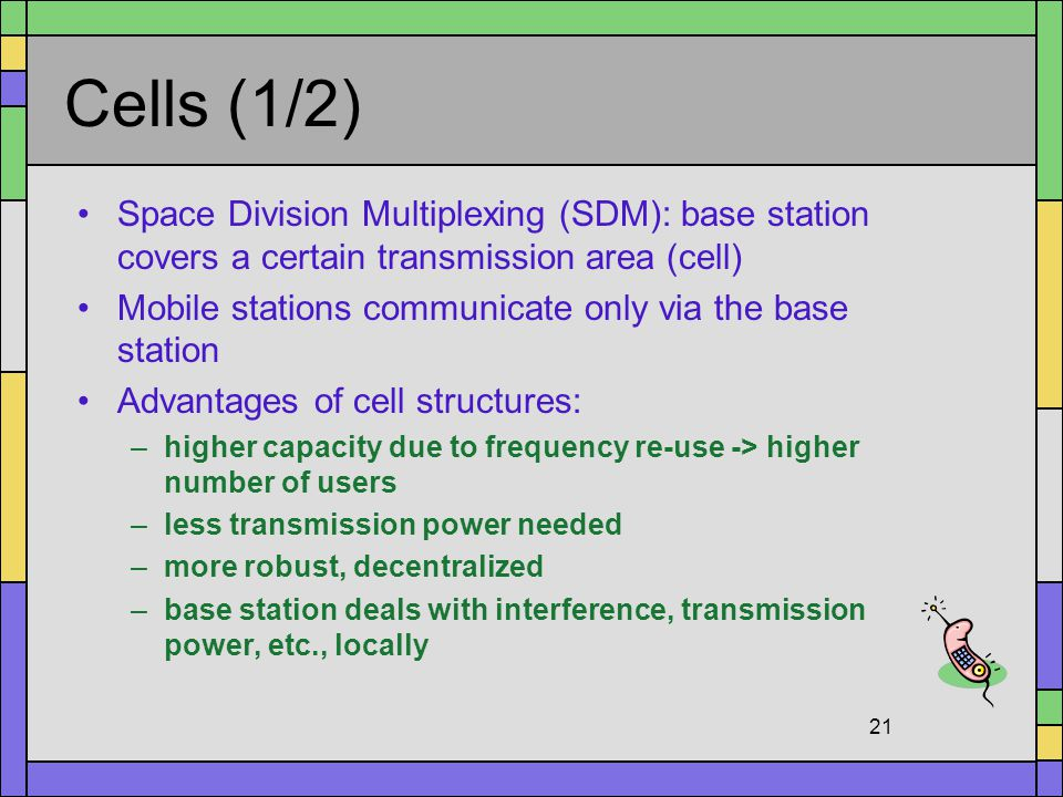 Cells (1/2) Space Division Multiplexing (SDM): base station covers a certain transmission area (cell)