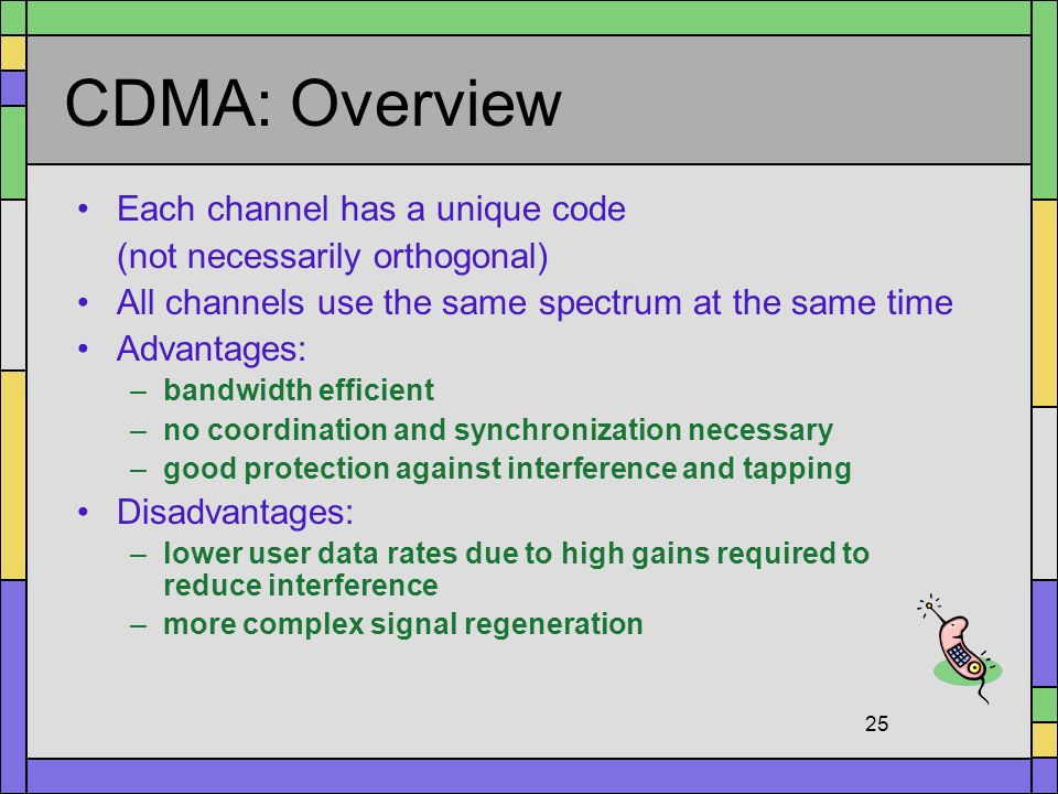 CDMA: Overview Each channel has a unique code