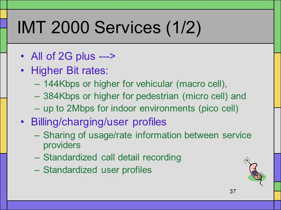 IMT 2000 Services (1/2) All of 2G plus ---> Higher Bit rates: