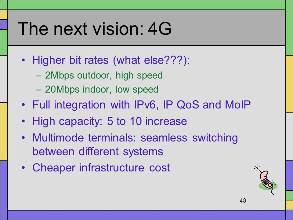The next vision: 4G Higher bit rates (what else ):