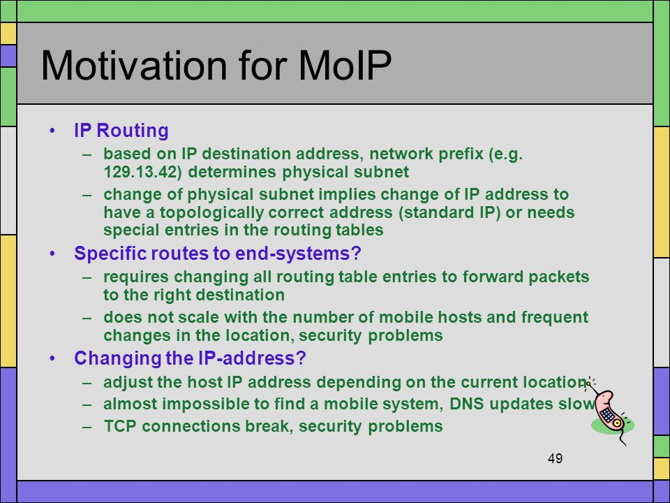 Motivation for MoIP IP Routing Specific routes to end-systems