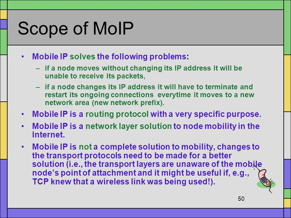 Scope of MoIP Mobile IP solves the following problems: