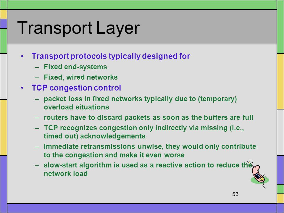 Transport Layer Transport protocols typically designed for