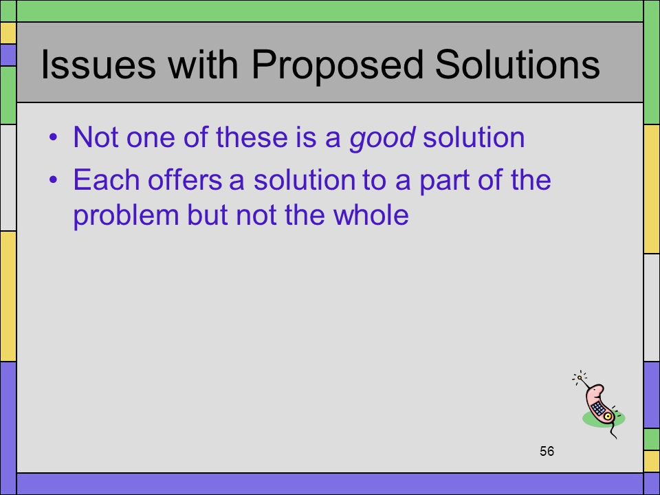 Issues with Proposed Solutions