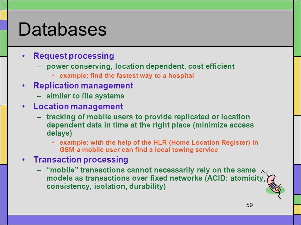 Databases Request processing Replication management