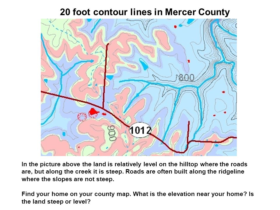 20 foot contour lines in Mercer County
