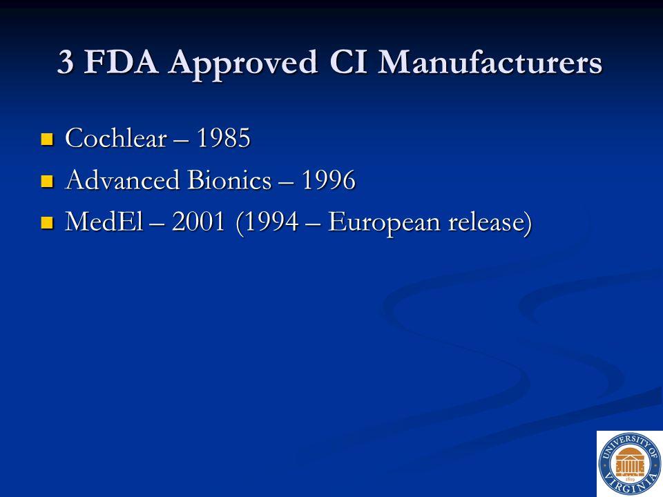 3 FDA Approved CI Manufacturers