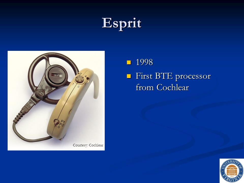 Esprit 1998 First BTE processor from Cochlear Courtesy: Cochlear