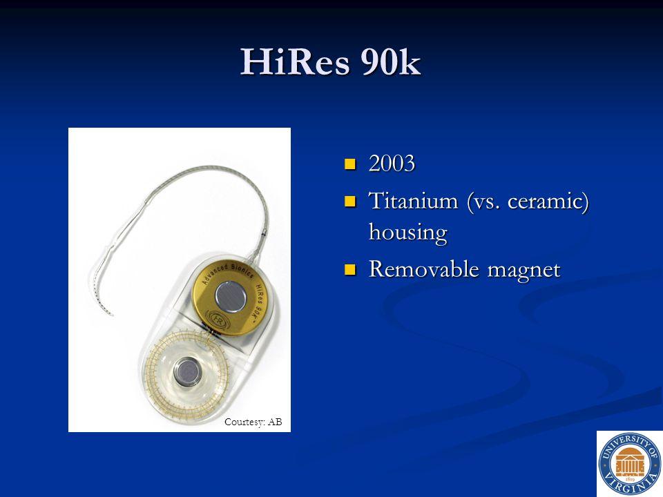 HiRes 90k 2003 Titanium (vs. ceramic) housing Removable magnet
