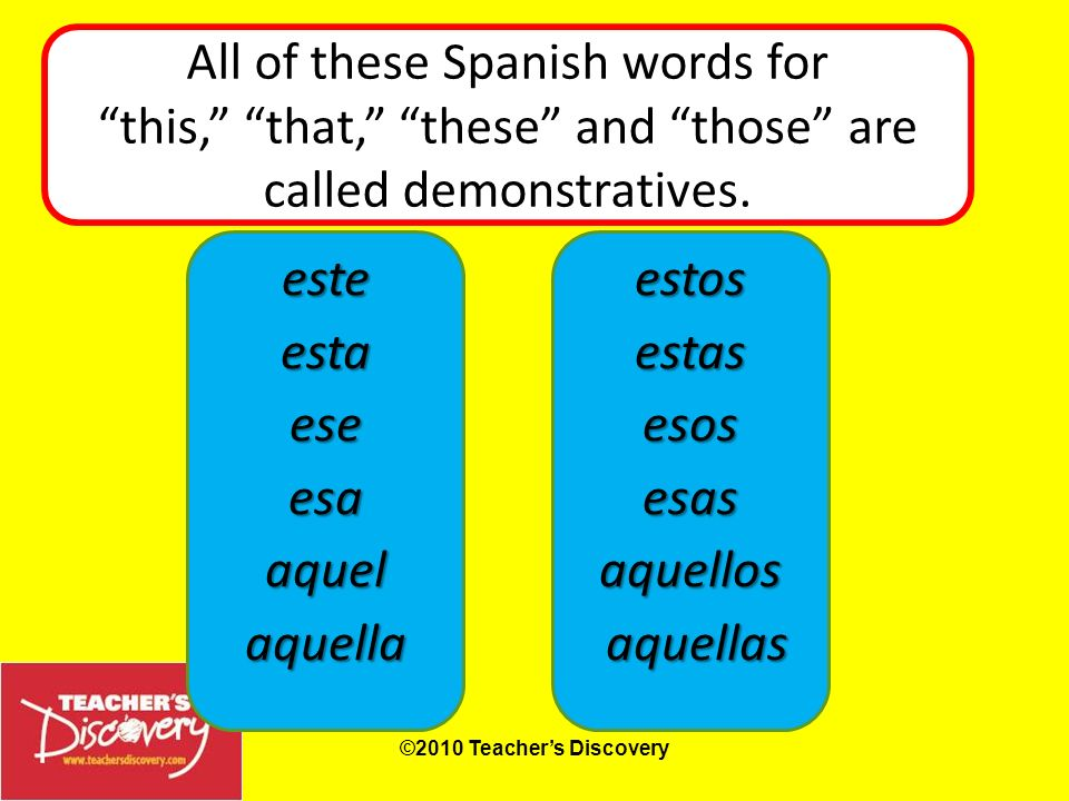 All of these Spanish words for