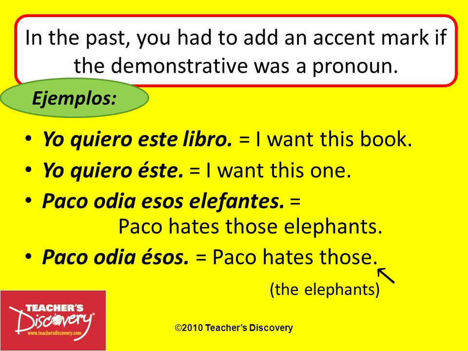 In the past, you had to add an accent mark if the demonstrative was a pronoun.