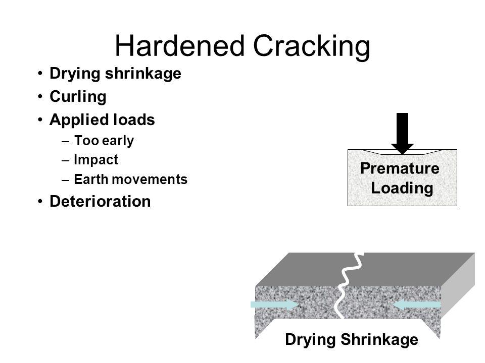 Hardened Cracking Drying shrinkage Curling Applied loads Deterioration