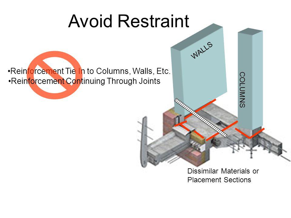 Avoid Restraint Reinforcement Tie In to Columns, Walls, Etc.