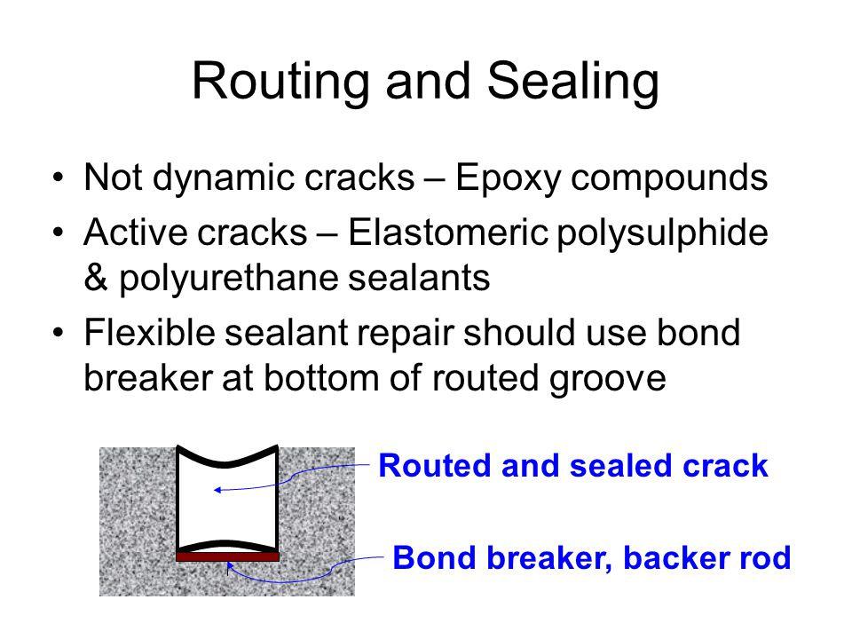 Routing and Sealing Not dynamic cracks – Epoxy compounds