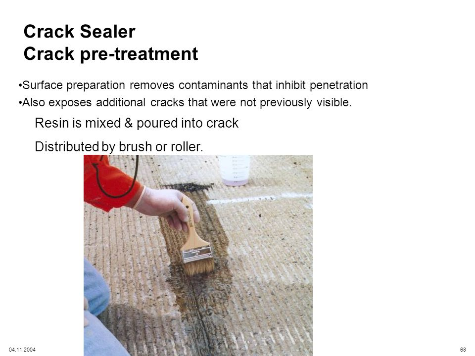 Crack Sealer Crack pre-treatment Resin is mixed & poured into crack