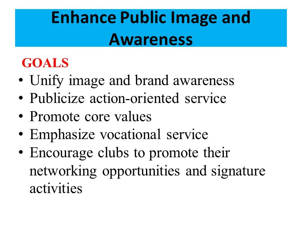 Enhance Public Image and Awareness