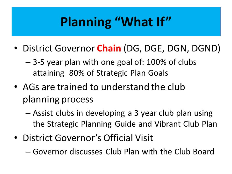 Planning What If District Governor Chain (DG, DGE, DGN, DGND)