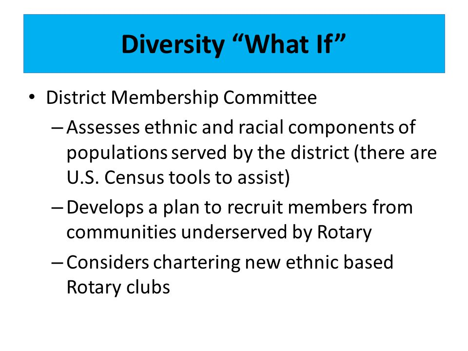 Diversity What If District Membership Committee