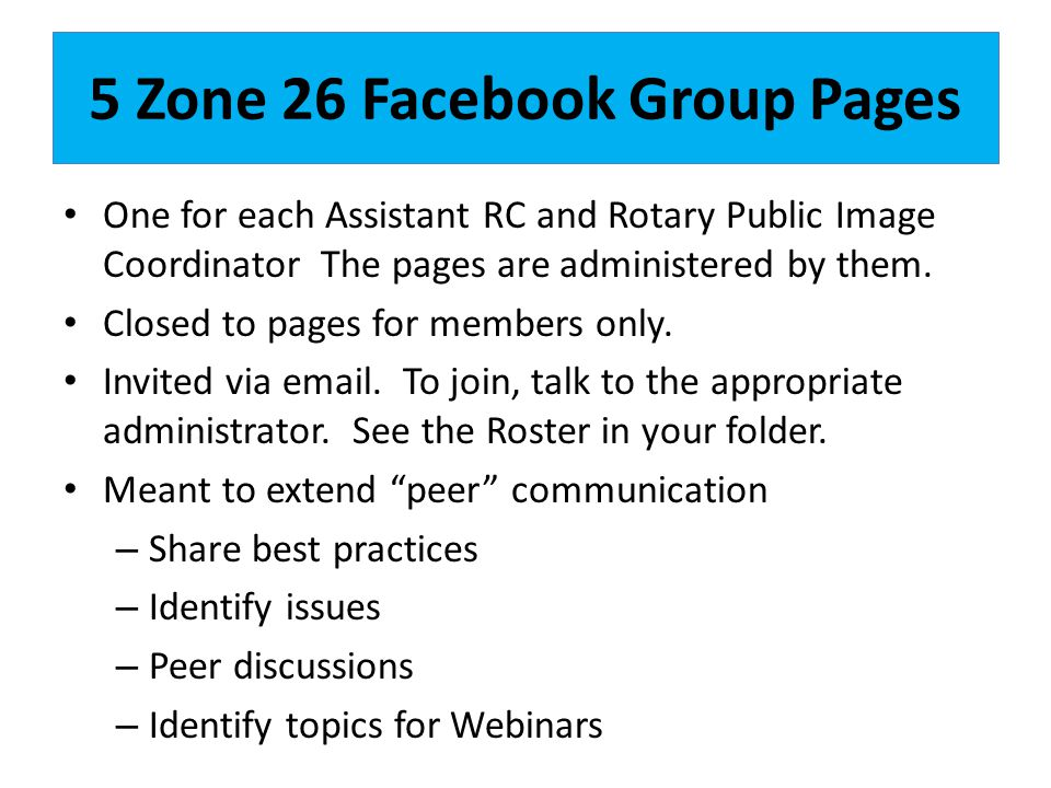 5 Zone 26 Facebook Group Pages