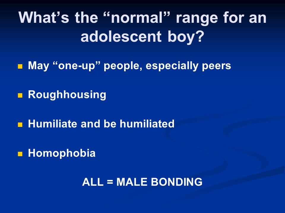 What's the normal range for an adolescent boy