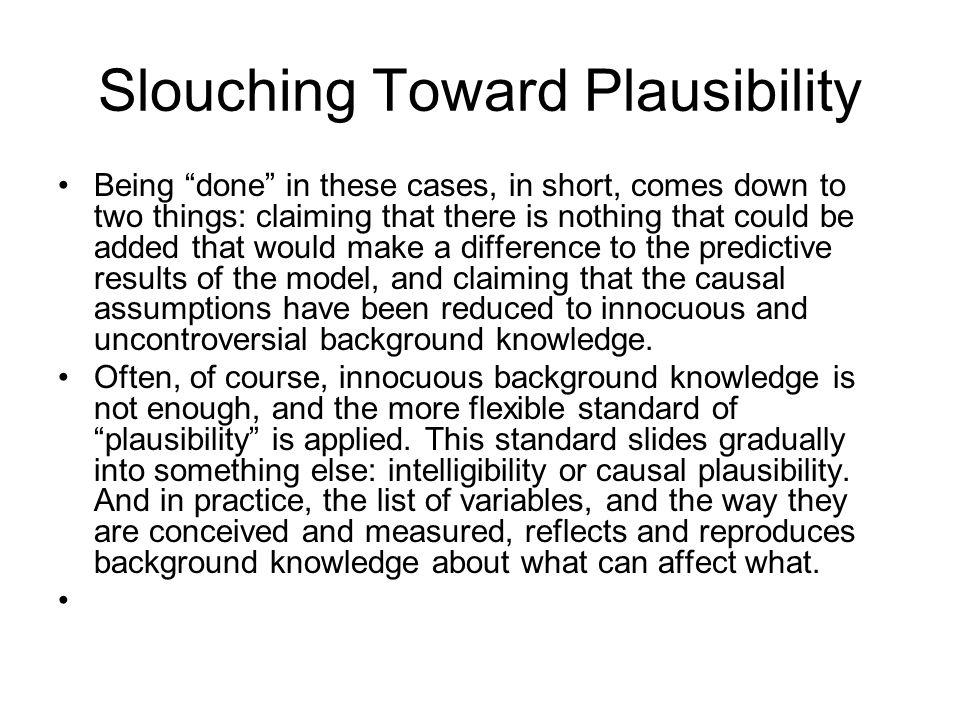 Slouching Toward Plausibility